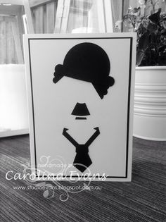 Charlie Chaplin Silhouette Punch Art Card using Stampin' Up! products 2015 Carolina Evans #stampinup #charliechaplin