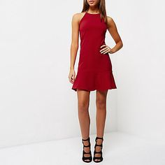 Jersey crepe Bodycon fit High neckline with cami straps Sleeveless Frilly drop hem