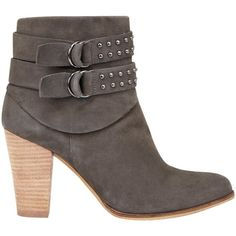 Mint Velvet Steph Block Heeled Ankle Boots , Grey Nubuck ($220) ❤ liked on Polyvore featuring shoes, boots, ankle booties, grey nubuck, grey booties, flat booties, high heel boots, low ankle boots and gray boots