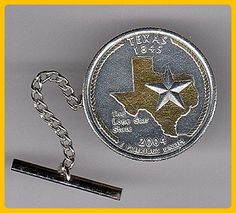 Gorgeous 2-Toned  Gold & Silver Texas Statehood quarter   Coin -  Tie or Hat tack - Groom cufflinks and tie clips (*Amazon Partner-Link)