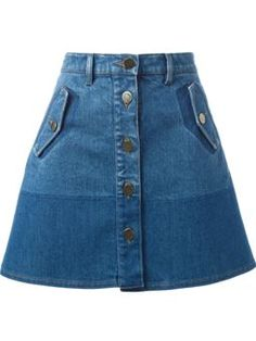 Valentino Two-Tone Denim Skirt Denim Skirt Winter, A Line Denim Skirt, A Line Skirts, Short Skirts, Mini Skirts, Casual Summer Dresses, Casual Skirts, Mode Outfits, Skirt Outfits