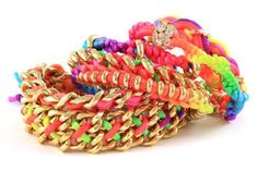 """Stackable Neon Accessories The Ettika Friendship Bracelets are Great for Grown-Ups"" Neon Bracelets, Thread Bracelets, Jewelry Bracelets, Chain Bracelets, Stackable Bracelets, Colorful Bracelets, Cute Jewelry, Diy Jewelry, Jewelry Design"