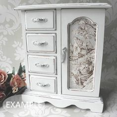 Shabby Chic Jewellery Box / Armoire Cabinet Case...Just Lovely.