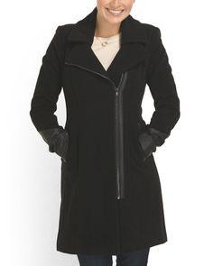 Wool+Blend+Faux+Leather+Coat $99.99 TJM via andrew marc