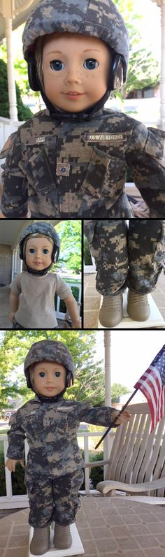 """Our jaws dropped! Linda S of 18 Inch Doll Club made this AMAZING replica US Air Force uniform for her American Girl doll using Lee & Pearl Pattern 1010: Army Uniform Bundle for 18"""" Dolls. Linda completed every part of this pattern: the T-shirt, multi-pocketed cargo pants with drawstring hems, jacket with detachable name, branch and rank tabs — and even the  helmet cover! Find this pattern in the Lee & Pearl Etsy store at…"""