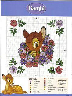 Bambi in flower wreath
