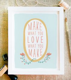 make what you love quote art 8x10 flower wreath and by littlelow, $15.00