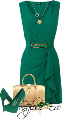 "Another ""wrap"" dress with the beautiful ruffle and defined waist. Not sure I like the deep green though."