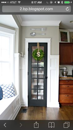 Pantry project replace door with glass door and privacy film for blurred look...maybe on laundry room door too!