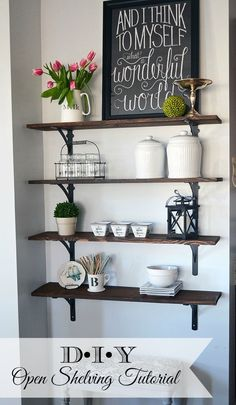 An Easy Tutorial on how to build stained, open kitchen shelving which fills a blank wall in the kitchen nicely and adds storage.