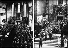 Hitler's Brown Army attending and leaving church services. These photos were published by Nazis during Hitler's reign.(Source: Das Braune Heer: mit einem Geleitwort von Adolf Hitler [Translation: The Brown Army: with a foreword by Adolf Hitler], Photos by Heinrich Hoffmann)