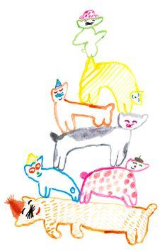 Efímero 2013 'Birth Collection'  Author: Mogu Takahashi  Title: Meow Family  Technique: Acrylic paint
