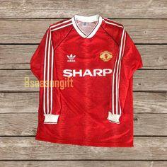 Manchester United 1990 Long Sleeve Football Shirt Soccer | Etsy Retro Football Shirts, Color Calibration, Body Size, Manchester United, Soccer, The Unit, Trending Outfits, Long Sleeve, Etsy
