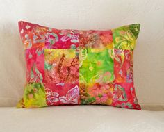 Red Orange Yellow and Green Patchwork by LavenderBluDesigns