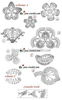 :-) Irish Crochet Charts, Irish Crochet Patterns, Crochet Motifs, Crochet Diagram, Freeform Crochet, Thread Crochet, Crochet Designs, Crochet Leaves, Crochet Flowers