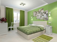Bedroom Wall Designs, Bedroom Wall Colors, Room Design Bedroom, Bedroom Furniture Design, Home Room Design, Home Interior Design, House Paint Interior, Green Bedroom Decor, Home Decor Bedroom
