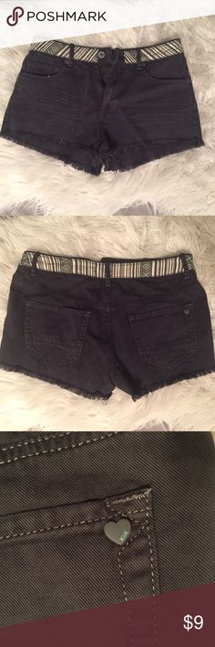 NWOT Kendall and Kylie charcoal fringe shorts Charcoal shorts with a fun belt style aztec design.  Cute heart shaped button on back pocket with the K&K logo on it.  Never worn. Kendall & Kylie Shorts Jean Shorts