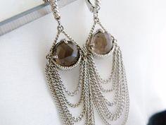 New Anthony Nak STERLING Silver 925 Smoky Quartz Tassel Chain Long Earrings #AnthonyNak #Chandelier