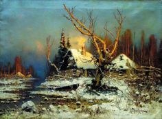 winter landscape w/ hut, Yuly Klever,