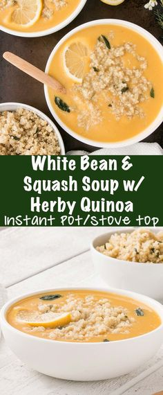 Could You Eat Pizza With Sort Two Diabetic Issues? White Bean And Squash Soup With Herby Quinoa Is A Silky Smooth Soup With Flavourful And Satisfying Herby Quinoa. Make On The Stove Or In The Instant Pot Best Soup Recipes, Chowder Recipes, Healthy Soup Recipes, Chili Recipes, Cooking Recipes, Farro Recipes, Delicious Recipes, Amazing Recipes, Lunch Recipes