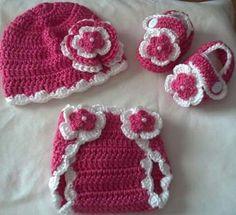 Calzón-gorro-zapato,crochet.