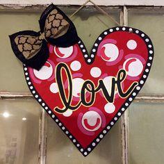 Heart wooden door hanger by OzarkTrends on Etsy