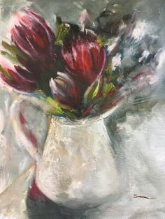 Proteas in pot Oil on Canvas 300x400