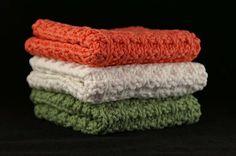 Knit Dishcloths, Tangerine, Ecru, Sage Green Set of 3, Knit Washcloth, Cotton Washcloth, Housewarming Gift, Face Cloth, Eco Friendly, Linens