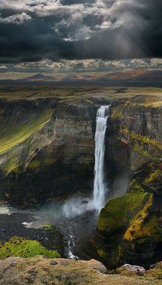 The waterfall Háifoss, situated near volcano Hekla in the south of Iceland.