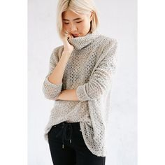 Kimchi Blue Piper Open-Stitch Turtleneck Sweater ($59) ❤ liked on Polyvore featuring tops, sweaters, taupe, loose sweater, fitted sweater, open-stitch sweater, fitted turtleneck and long length sweaters