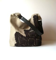 Black Hobo Bag Linen Burlap Vintage Doily by JuneberryStitches Jute Bags, Linen Bag, Crochet Purses, Upcycled Vintage, Couture, Hobo Bag, Bucket Bag, Purses And Bags, Burlap