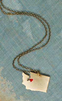 Washington State Necklace Golden Charm Unisex