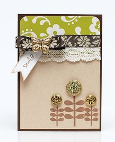"""How to alter shanked buttons to create a sweet papercrafted """"garden"""""""