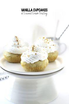 Vanilla Cupcakes with Coconut Cream Frosting // thehealthymaven.com #glutenfree #dairyfree