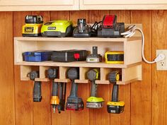 Cordless Tool Station Woodworking Plan. This handy wall-hung holster stores your cordless drills, impact drivers, and nailers, while keeping accessoriesespecially those pesky battery chargerscontained and close at hand. Featured in the October 2013 issue of WOOD.
