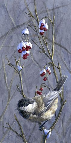 """Winter Harvest 2"" By Karen Whitworth Who doesn't love Black Capped Chickadees!? :) This cute little winter bird is available on cards, prints, tote bags & more. Get yours here: http://fineartamerica.com/featured/winter-harvest-2-chickadee-painting-karen-whitworth.html"