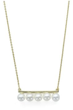 Necklace made of silver .925 with 5 synthetic pearls in a line shpaed pendant with 14K gold plated.  Approx. Measures: 16.75-17.5 in L chain / 1.1 in W pendant 5 Pearls Necklace by Pink Revolver. Accessories - Jewelry - Necklaces - Delicate Mexico