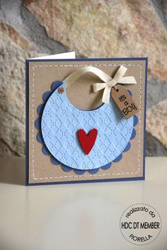 Circle punches/diecuts, embossing folder, faux stitching = cute card!
