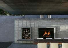 Blocks around fireplace and wooden ceiling