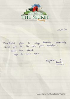 Guest comments and Feedback August 2014 The Secret Kandy