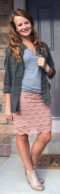 Sweet Bananie [8.19.15] gray v-neck tee, pink crochet skirt, utility/field jacket, statement necklace + ankle booties