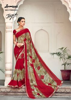 Mesmerize everyone with your wonderful conventional look by draping this red designer along with Fancy Lace Border. Laxmipati Sarees, Lace Border, Printed Sarees, Daily Wear, Bridal Collection, Kurti, Print Design, Fancy, Draping