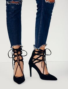 Jeffrey Campbell + Free People Hierro Heel at Free People Clothing Boutique Shoes Heels Wedges, Lace Up Heels, Crazy Shoes, Me Too Shoes, Hipster Shoes, Black Suede Pumps, Fashion Essentials, Sock Shoes, Footwear