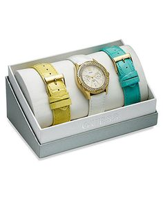 GUESS Watch Set, Women's Interchangeable White, Yellow and Turquoise Leather Straps