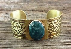 Etched Ring with Stone *This is a one-of-a-kind show piece. Come check us out at Westfest!*