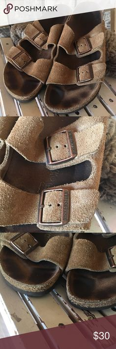 """Birkenstock Arizona Suede Sandals sz 42 Gently worn. Some heel wear and breakdown on back of heel - see pics.  Otherwise, solid and clean. Straps and buckles excellent.  Length 11-1/2"""".  Width 4"""". Birkenstock Shoes Sandals"""