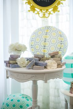 #bridal-shower, #baby-shower, #soap, #party-favor  Photography: Maya Myers Photography - mayamyers.com  Read More: http://www.stylemepretty.com/living/2014/01/06/smp-living-graphic-print-inspired-baby-shower/