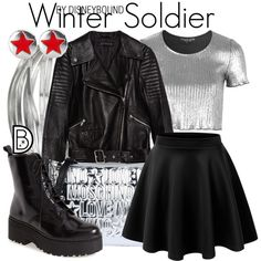 Winter Soldier by leslieakay on Polyvore featuring Topshop, Zara, LE3NO, Jeffrey Campbell, Love Moschino, Whistles, disney, disneybound and disneycharacter