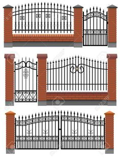 Photo about Vector gate, wicket and fences with red brick columns and a metal lattice, isolated on white. Illustration of homestead, gate, inclosure - 26575467 Front Gate Design, Door Gate Design, House Gate Design, Fence Design, Brick Columns, Brick Fence, Metal Gates, Wrought Iron Fences, Metal Garden Gates