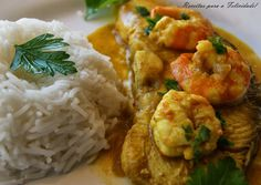 Garlic Sauteed Shrimp Recipe Main Dishes with red chili peppers, seeds, cumin seed, cardamom seeds, paprika, black peppercorns, saffron, coarse salt, olive oil, onions, garlic cloves, white wine, fillets, coconut milk, shrimp